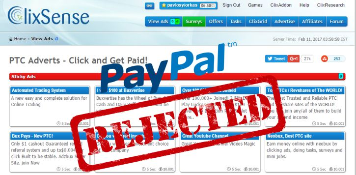 No More PayPal on Clixsense