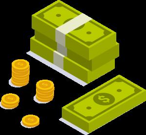 isometric illustration of dollars