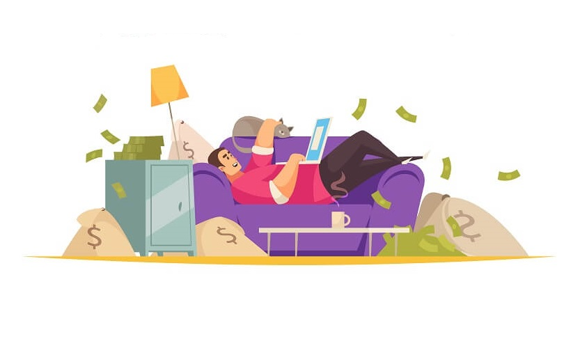 successful entrepreneur laying on a couch with piles of money around him