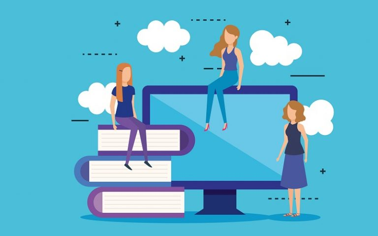 mini people with computer and books vector illustration design