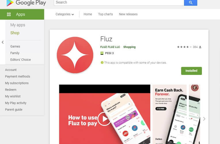 Fluz app on Android Store