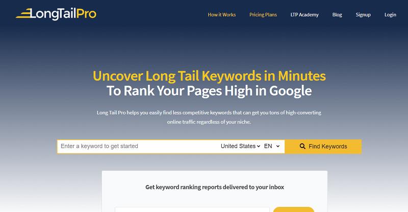 Long Tail PRO homepage screenshot
