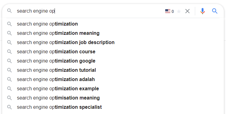 Search recommendations example screenshot